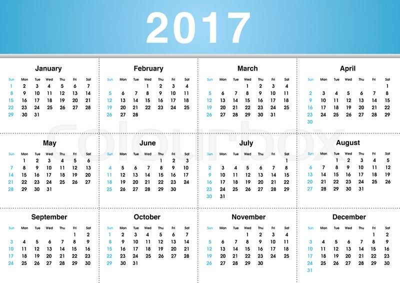 التقويم الميلادي 2017 بالعربي