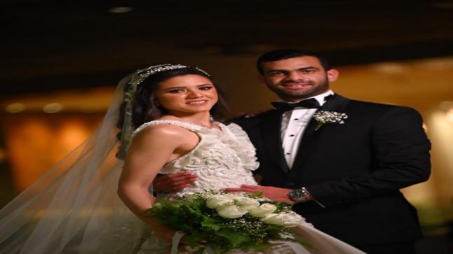 شاهد الصور الأولى لنجل نشوى مصطفى وزوجته من حفل زفافهما