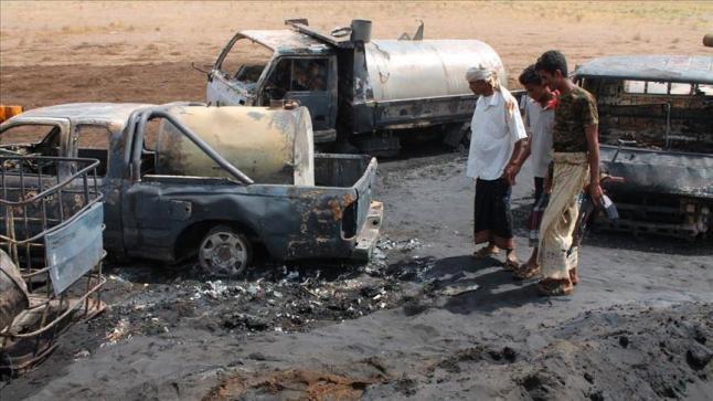 حريق بتسريب نفطي بمديرية باجل اليمنية يودي بحياة ثمانية مدنيين