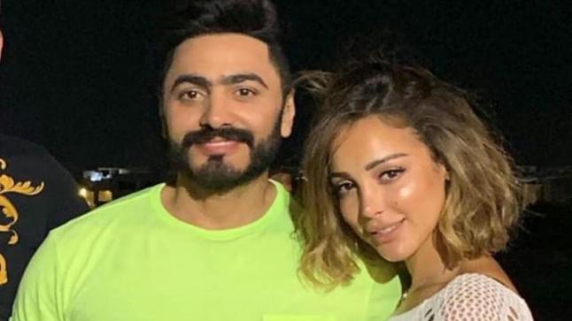 تفاصيل منع بسمة بوسيل زوجها تامر حسني من العمل مع مي عز الدين